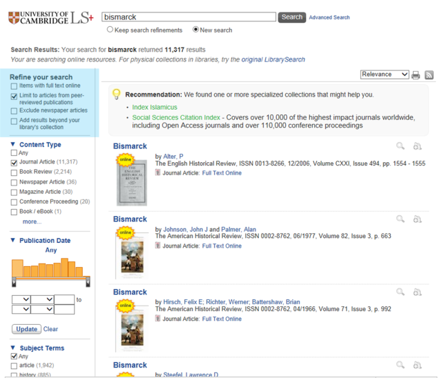 Peer-reviewed journals in LibrarySearch+