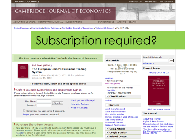 Journal subscription required when accessed through Google