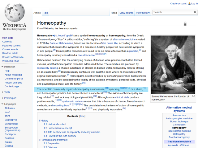 Homeopathy article on Wikipedia